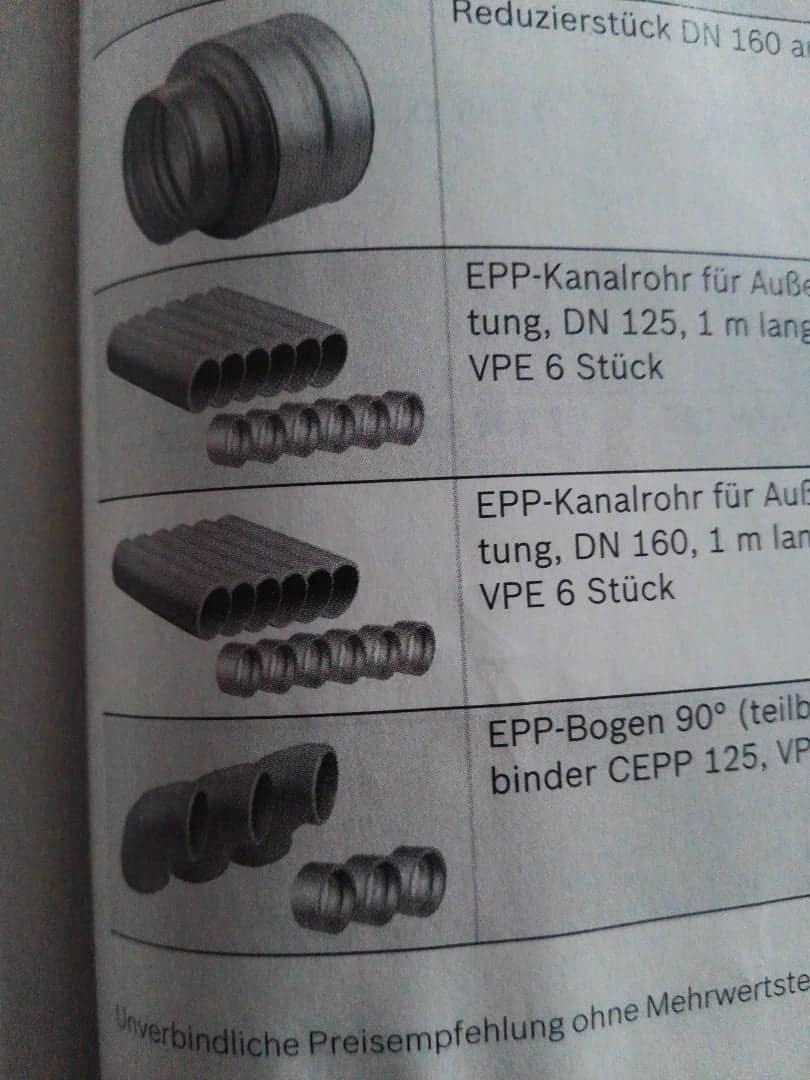 Kontrollierte Wohnungslüftung Junkers Bosch EPP-Kanalrohr