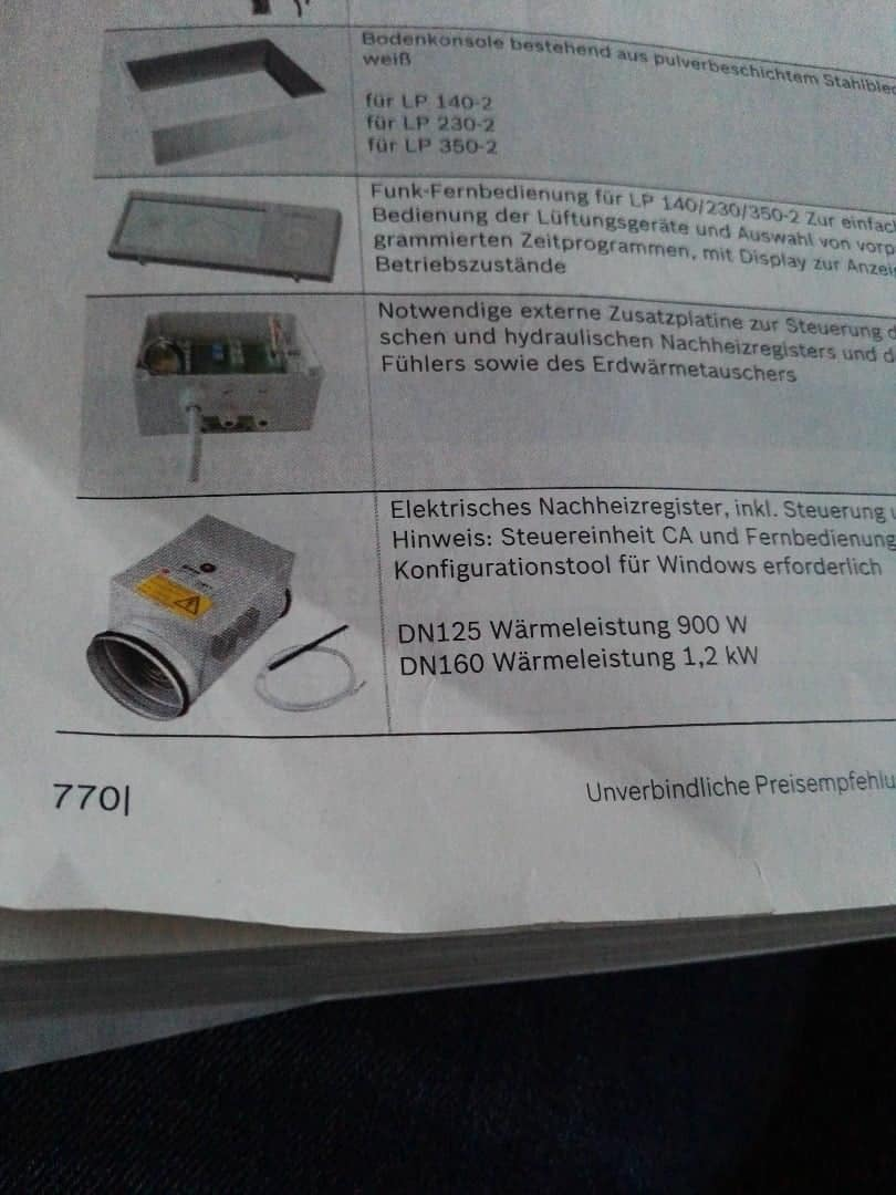 Kontrollierte Wohnungslüftung Aerastar Comfort Junkers Bosch elektrisches Nachheizregister