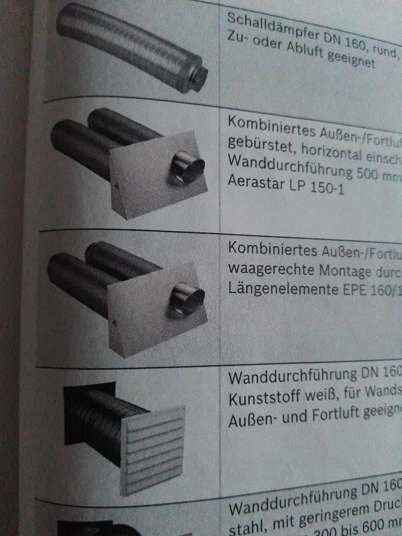 Kontrollierte Wohnungslüftung Junkers Bosch Außen-/Frontluftelement