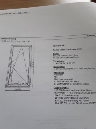Balkontür, Wärmeschutzverglasung 2fach, umlaufende Metallverstärkung, RC1 (altWK1)