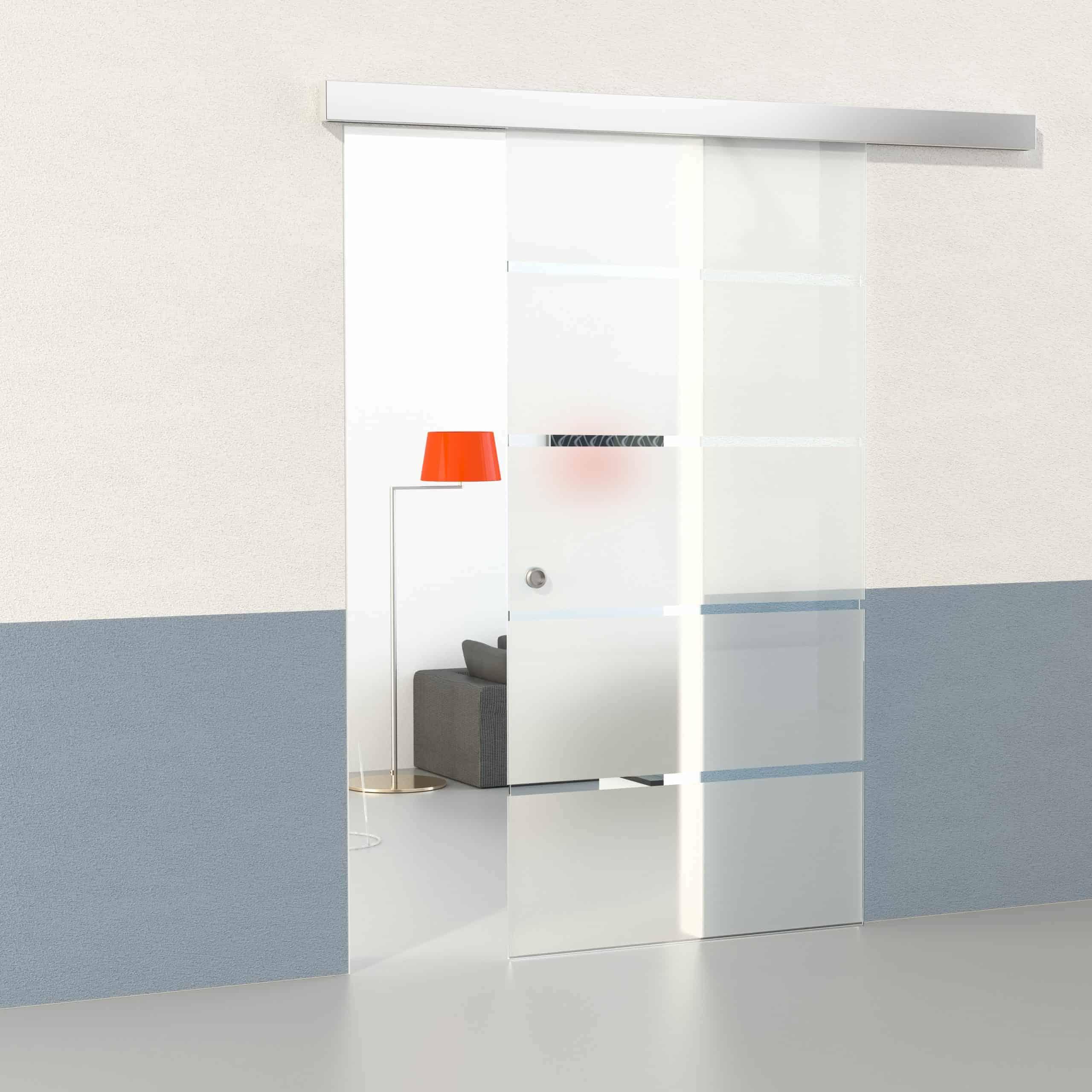 Glasschiebetüren komplettset 3 Größen & 5 Designs verfügbar