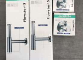 2 Hansgrohe Designsyphons/ 2 Eckventile