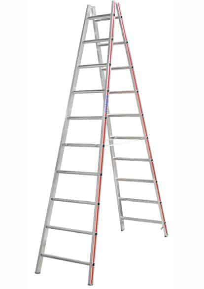 HYMER Aluplus Sprossen-Doppelleiter 2x10 Sprossen, 2,85 m