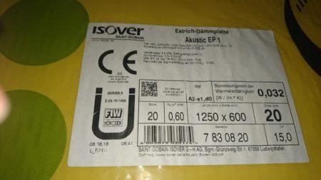 Isover Estrich-Dämmplatte Akustic EP1 WL032 20 mm