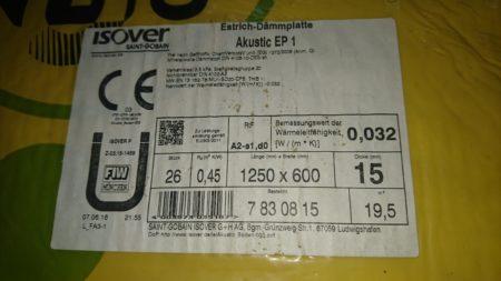Isover Estrich-Dämmplatte Akustic EP1 WL032 15 mm