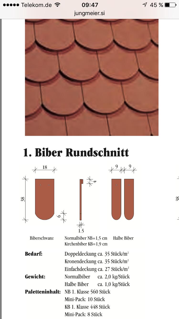 Biberschwanz Rundschnitt engobiert Jungmeier