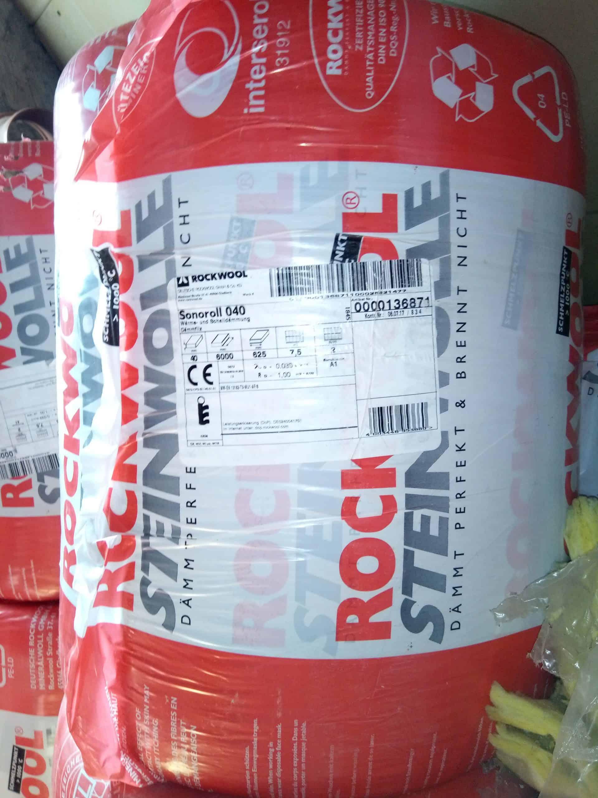 Rockwool Steinwolle Sonoroll 040, 40mm Dick, 62,5cm/ 6m