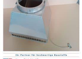 Kamin – Abströmkopf in Edelstahl matt Außenmaß 360x360x1 mm Ø 200 mm
