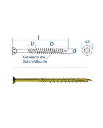 Konstruktionsschrauben 8 x 300 mm, Holzbauschrauben – Senkkopf TX40