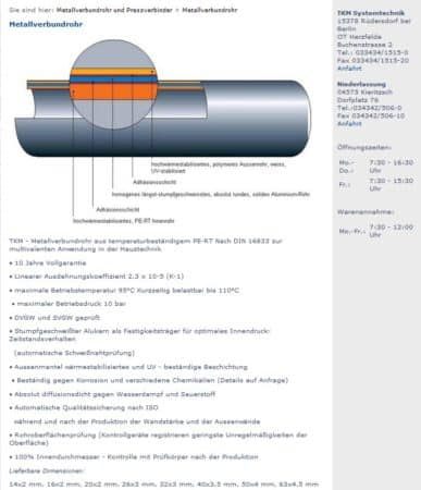 Mehrschichtverbundrohr 14/2 für Fußbodenheizung TKM, PE-RT, Alu