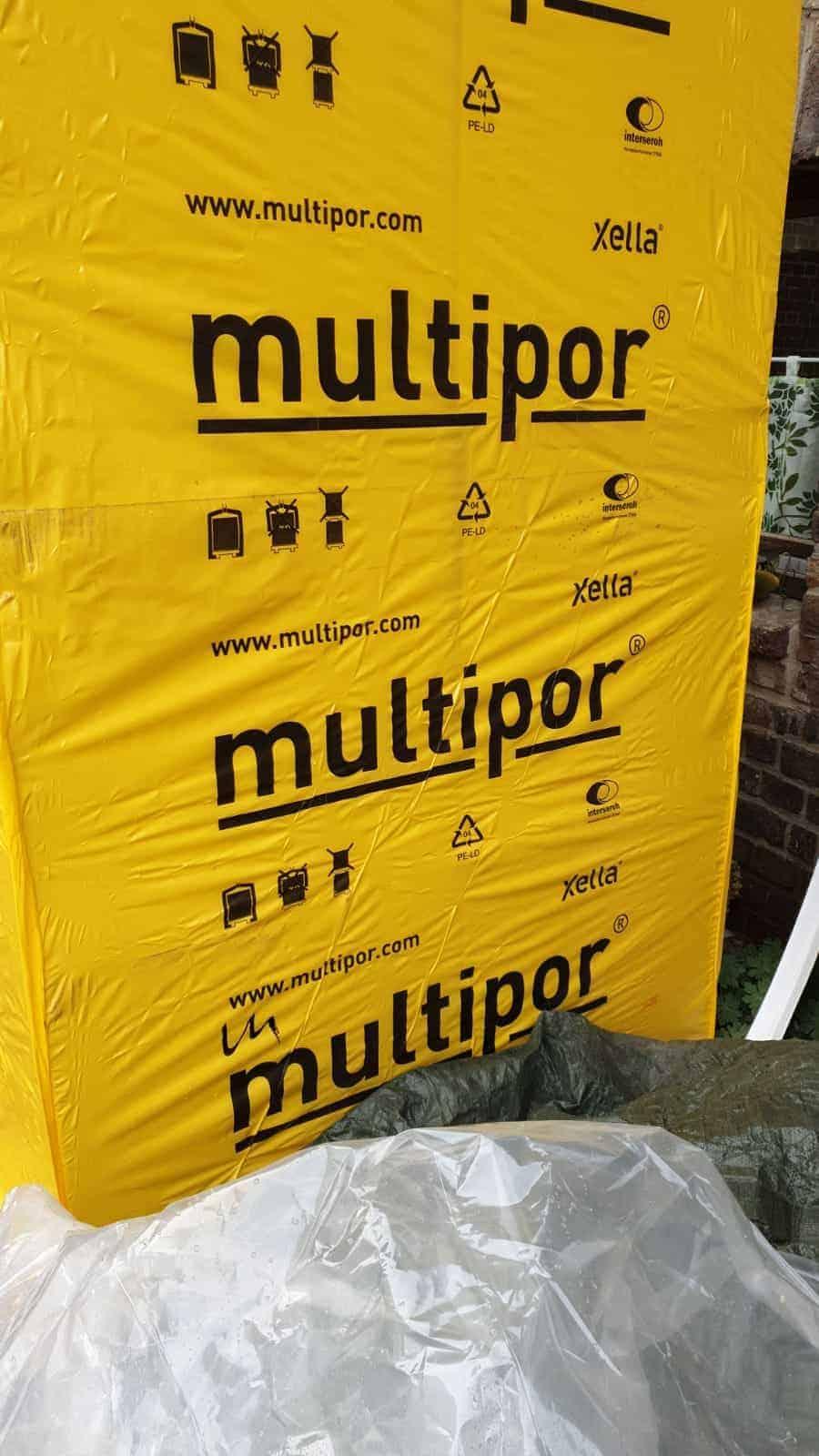 33,7 m² Multipor Dämmplatten 600x390x100 mm auf 2 Paletten