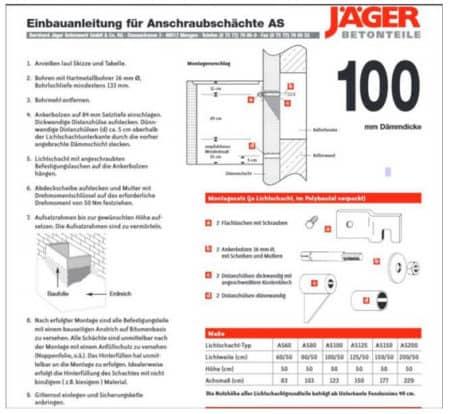 Montagesatz für Anschraublichtschacht AS Jäger 100