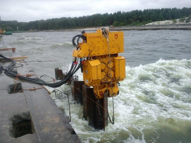 Used vibro hammer PVE 2312 VM to work on a crane or piling rig