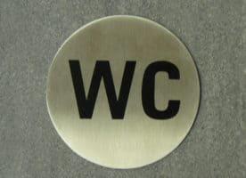 WC-Schild Edelstahl, Rund, 7,5 cm Durchmesser
