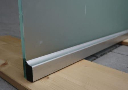 Ganzglastürblatt, ESG 10 mm, satiniert mit Bodendichtung & Stahlzarge, 0,885 x 2,135 m