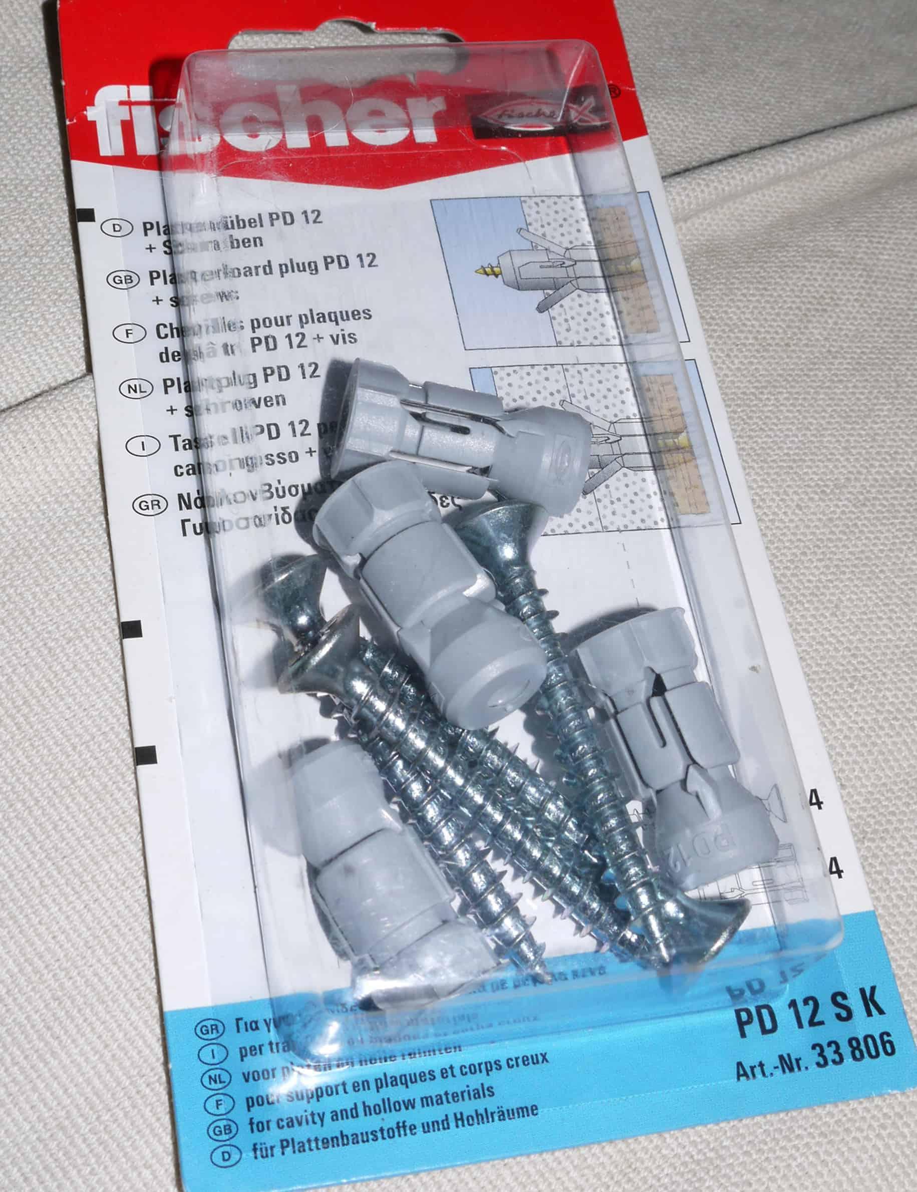 Plattendübel PD12 mit Schraube Fischer