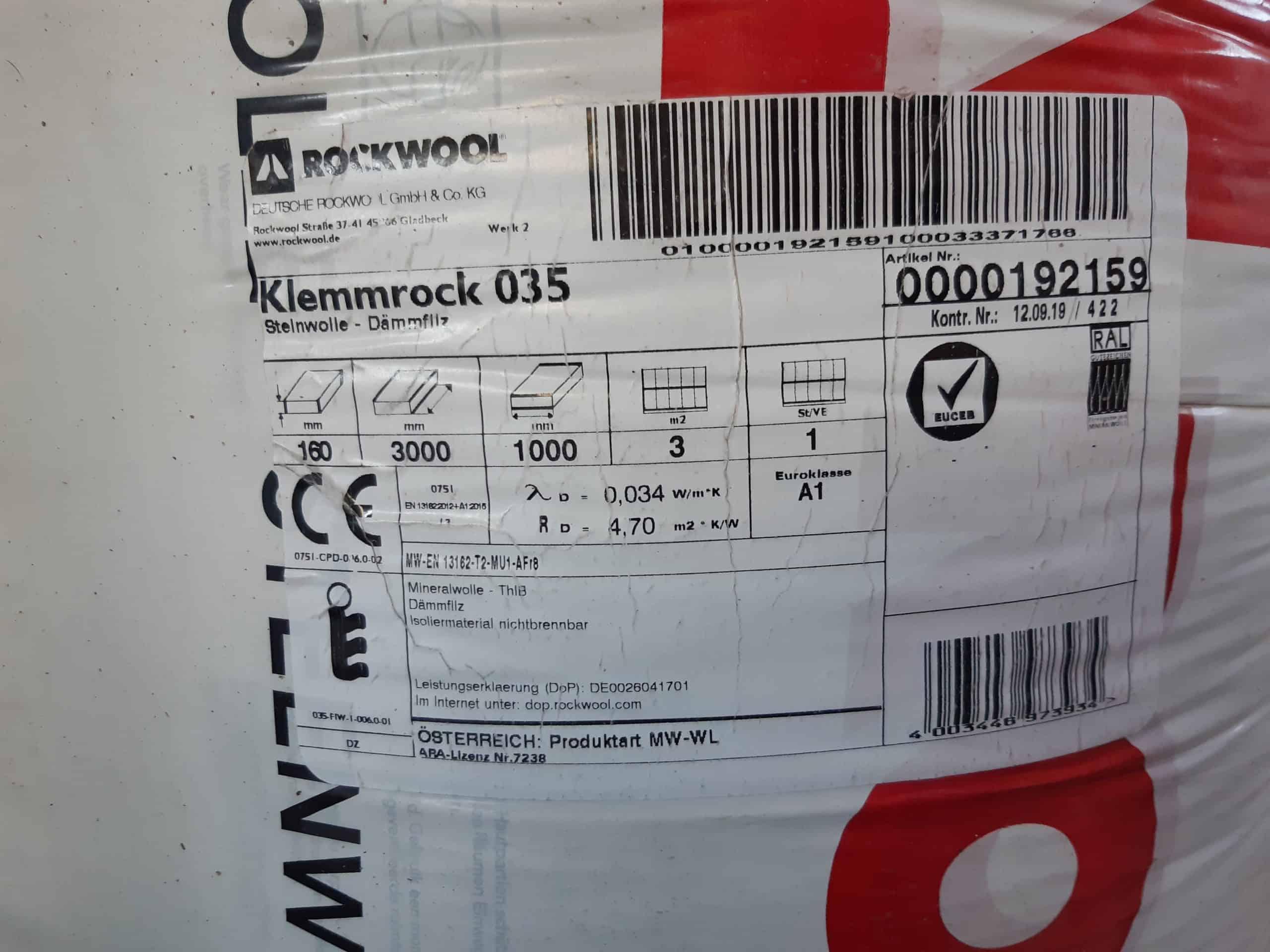 Rockwool Klemmrock 035 3000 x 1000 x 160 mm