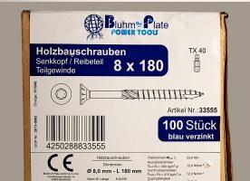 Bluhm & Plate Holzbauschrauben blau verzinkt - 8 x 180 mm - Senkkopf - TX40 - 100 Stk.