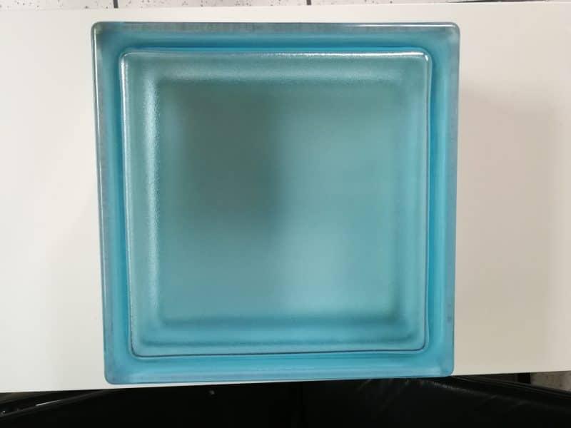 30 Glasbausteine in Azurblau, quadratisch (19 x 19 cm) und 8 cm dick