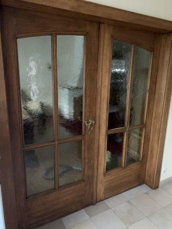 Holztür  mit gelblichem Glas, 50iger Jahre